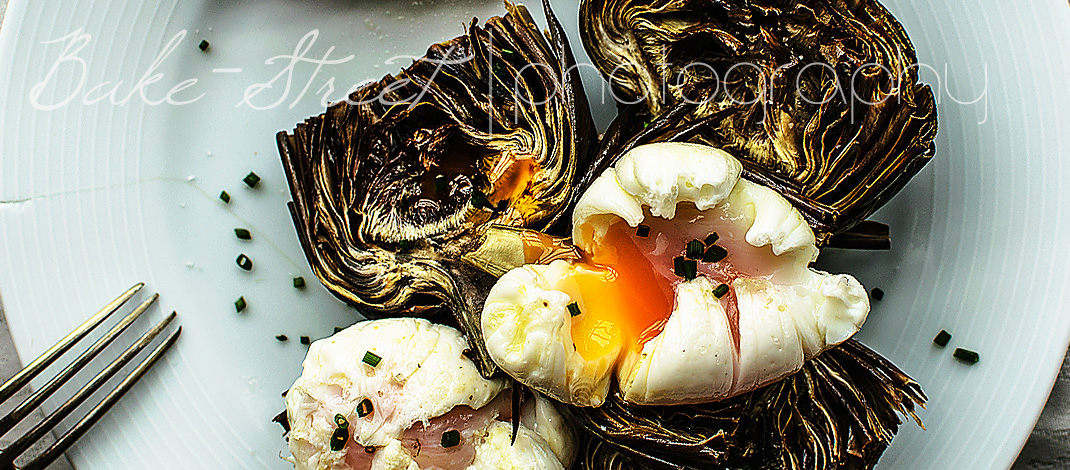 Roasted artichokes with truffled poached eggs