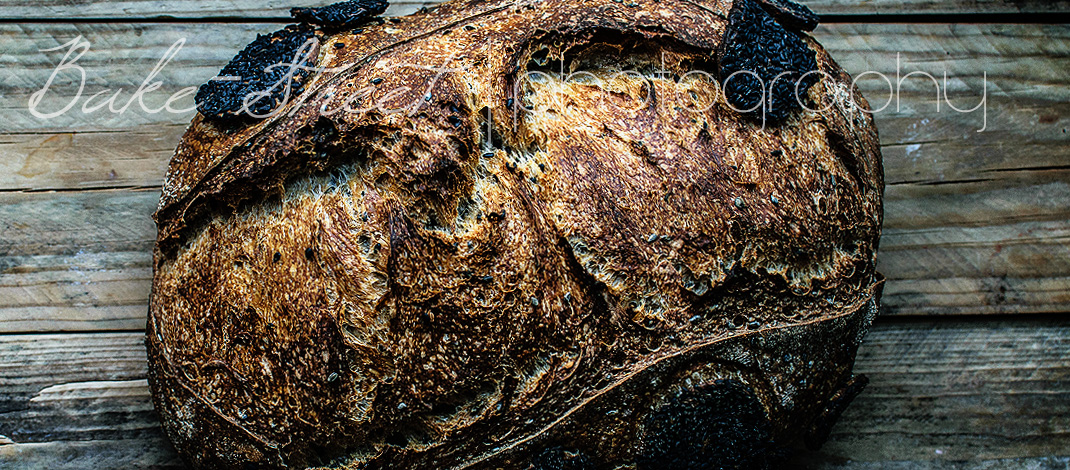Black sesame and gomasio sourdough bread