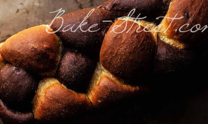 Pan de molde trenzado, cacao y cerezas {Vídeo receta}