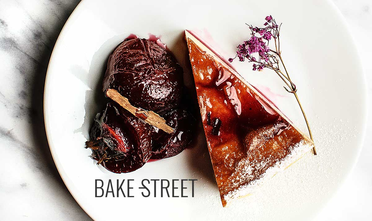 Far Breton with roasted plums