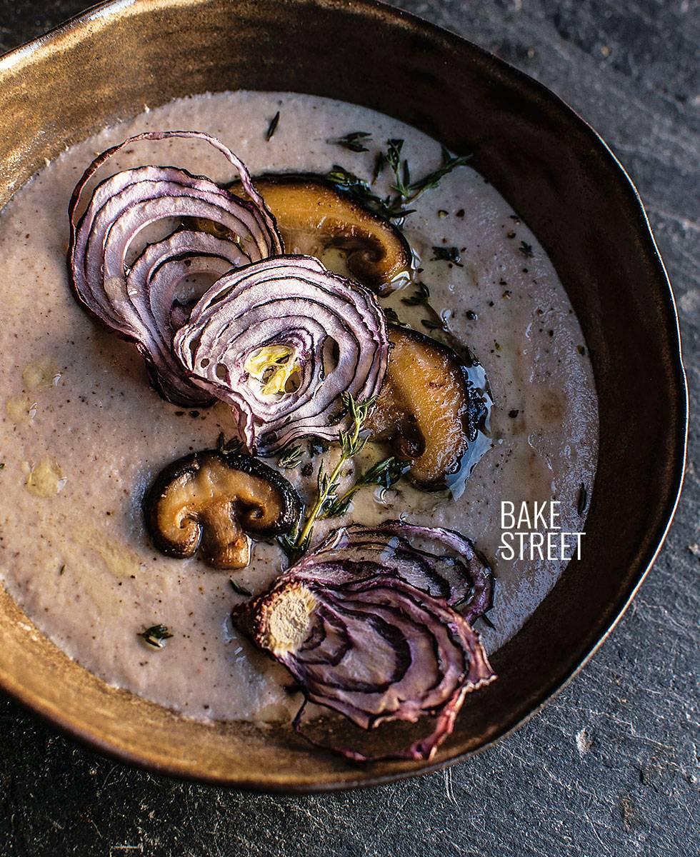 Crema de anacardos y shiitake