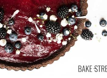 Blueberry, lime and chocolate tart