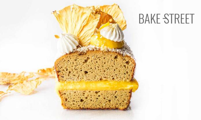Coconut gluten-free sponge cake with pineapple curd