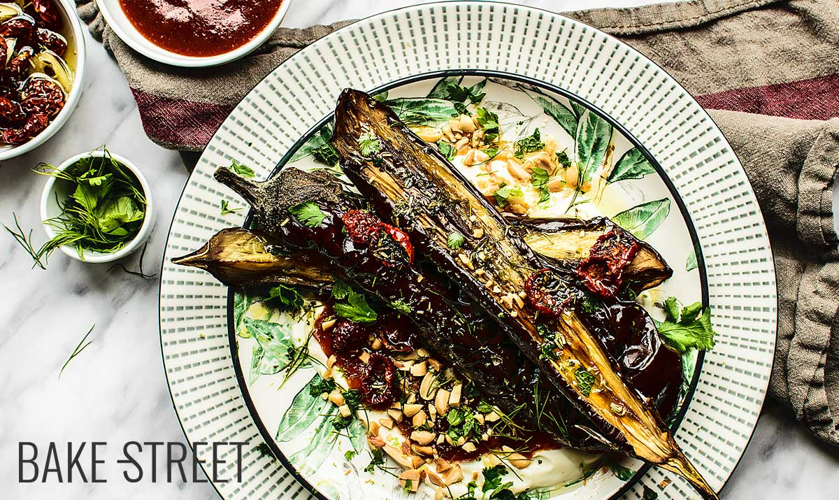 Roasted eggplants with tomato jam and peanuts