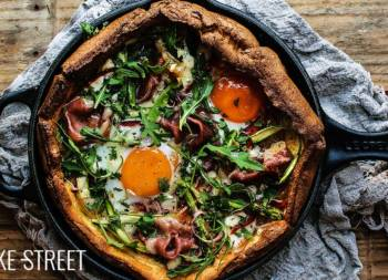 Dutch Baby with ham, asparagus and eggs
