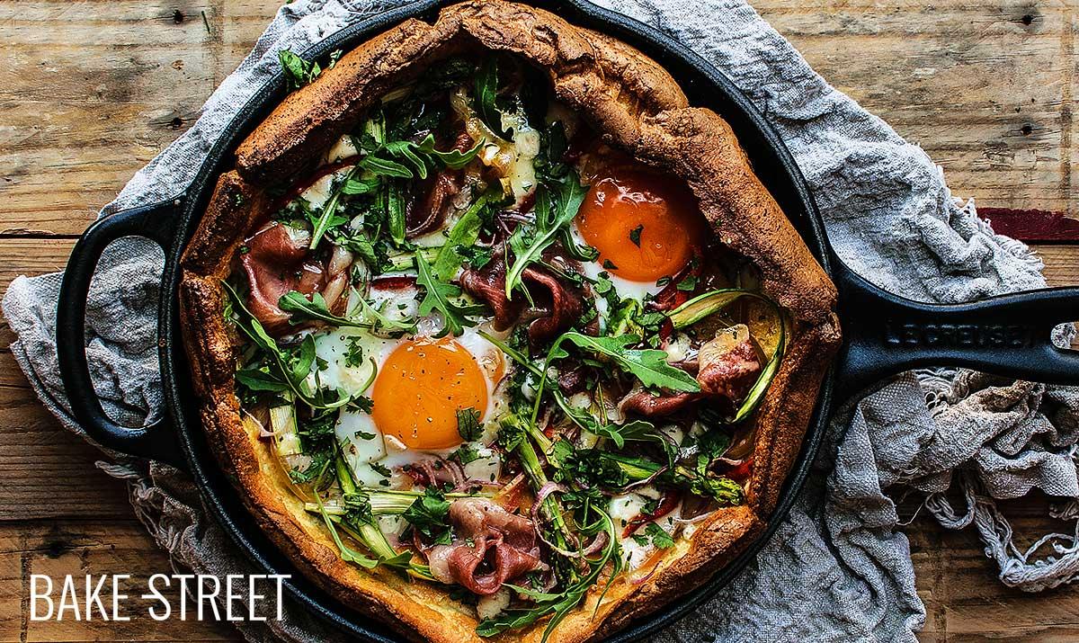 Dutch Baby with ham, asparagus and eggs