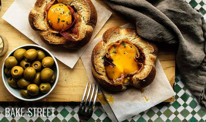 Eggs in a bread nest