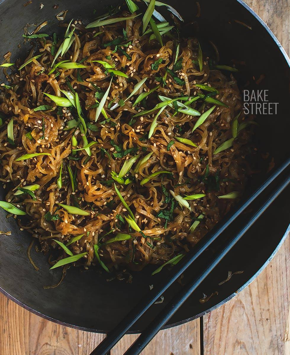 Pan-fried hoisin honey noodles