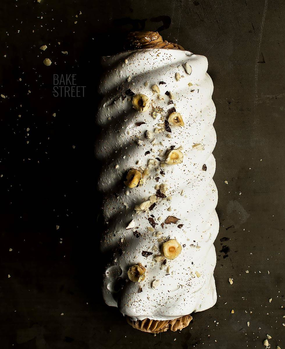 Meringue dream cake with hazelnut cream