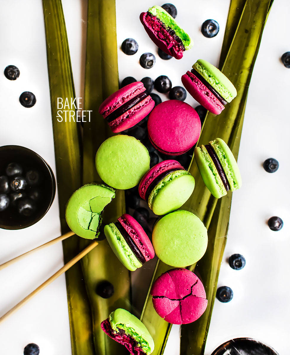 Blueberry and Wasabi Macarons