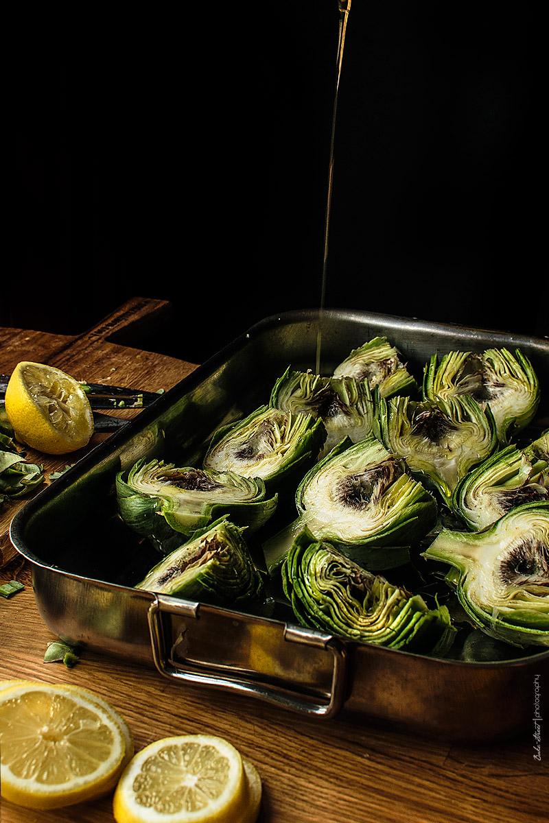 Alcachofas al horno con huevos poché trufados